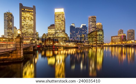 Panoramic view of Boston in Massachusetts, USA showcasing the architecture of Back Bay at sunset and Financial District�s skyscrapers. - stock photo