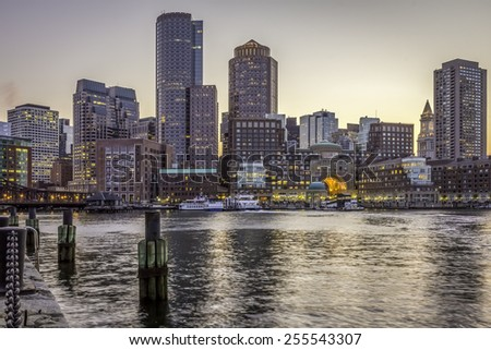 Panoramic view of Boston in Massachusetts, USA showcasing the architecture of its Financial District at Back Bay in the sunset.