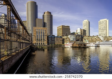 Panoramic view of Boston in Massachusetts, USA showcasing the architecture of its Financial District at Back Bay.