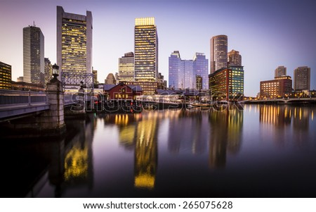 Panoramic view of Boston in Massachusetts, USA showcasing the architecture of its Financial District at Back Bay at sunset.