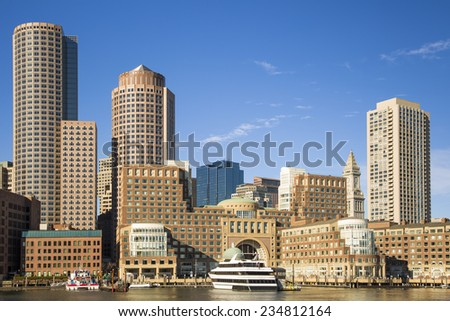 Panoramic view of Boston in Massachusetts, USA showcasing the architecture of the Financial District at back Bay on a sunny day. - stock photo