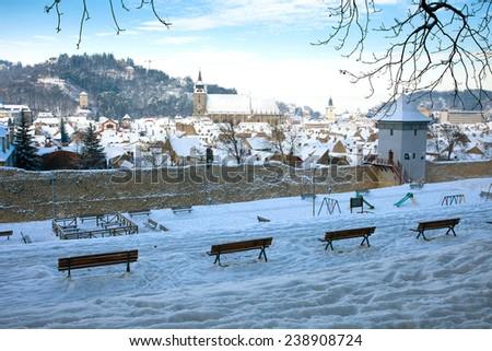 Panoramic view of Brasov old city, Romania - stock photo