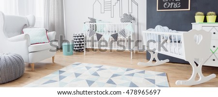 Panoramic view of bright room for little baby