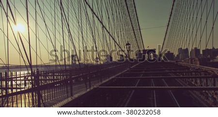 Panoramic View of Brooklyn and Manhattan Bridges Crossing East River and Looking Towards Borough of Brooklyn, New York City, New York, USA at Sunrise