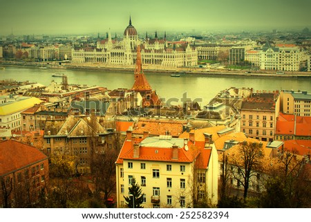 Panoramic view of Budapest and Danube river from Buda. Vintage effect - stock photo