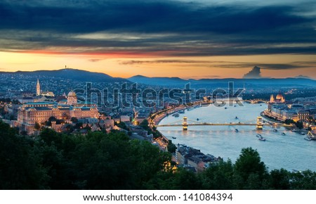 Panoramic view of Budapest at dusk - stock photo