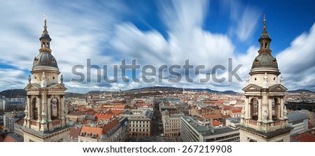 Panoramic view of Budapest from the top of St.Stephen's Basilica, Hungary - stock photo