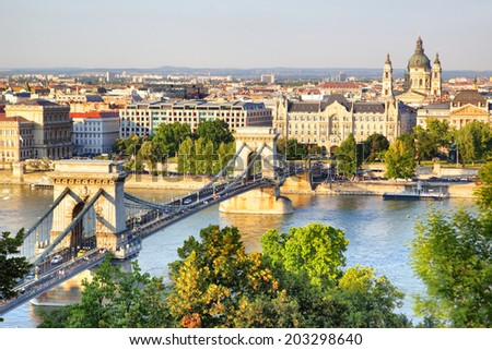 Panoramic view of Budapest, Hungary - stock photo