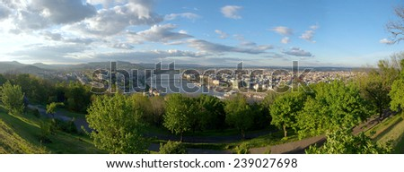 Panoramic view of Budapest with blue sky - stock photo