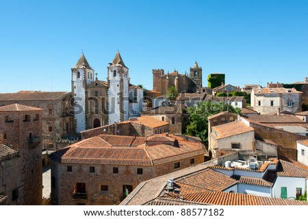 Panoramic view of Caceres historical center, in Extremadura.