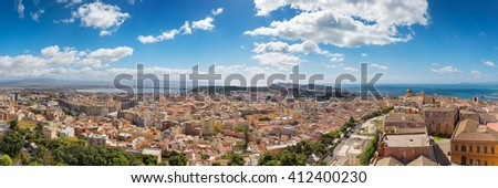 """Panoramic view of Cagliari, south view with the """"Urpinu and Sella del Diavolo"""" hill's in distance - stock photo"""