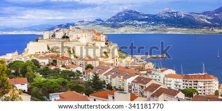 panoramic view of Calvi - Corsica island - stock photo