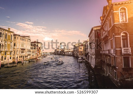 Panoramic view of Canal grande at sunset in Venice, Italy