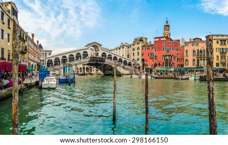 Panoramic view of Canal Grande with famous Rialto Bridge in Venice, Italy - stock photo
