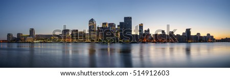 Panoramic view of Canary Wharf, financial hub in London at dusk