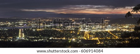 Panoramic view of Canberra at sunset. Canberra, Australian Capital Territory, Australia.