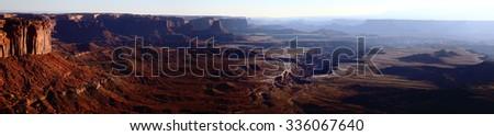 Panoramic view of Canyonlands National Park at sunset, Utah, USA - stock photo