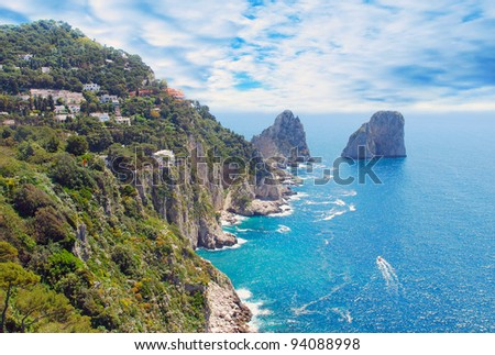 Panoramic view of Capri island - stock photo