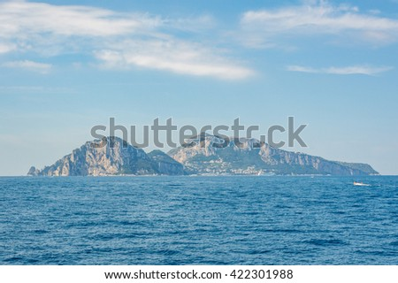 Panoramic view of Capri Island from the Bay of Sorrento