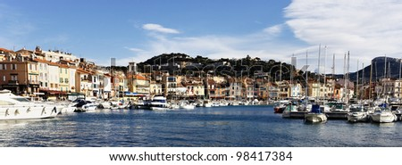 panoramic view of Cassis harbor, in France - stock photo