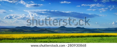 Panoramic view of Central Bohemian Uplands, Czech republic, Europe. - stock photo