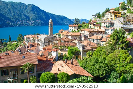 Panoramic view of Cernobbio town (Como lake, Italy) - stock photo