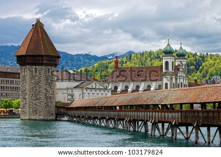 Panoramic view of Chapel Bridge, famous covered wooden bridge. Lucerne Switzerland
