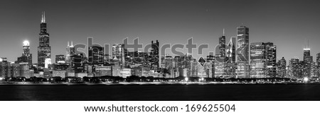 Panoramic view of Chicago Skyline at Night in black and white - stock photo