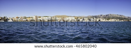 Panoramic view of Chios. Chios, Sakiz Adasi in Turkish, is the fifth largest of the Greek islands, situated in the Aegean Sea