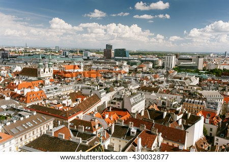 Panoramic view of city center Vienna, Austria