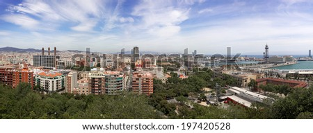 Panoramic View Of City Of Barcelona, Spain, Europe (wide, high quality panorama) - stock photo