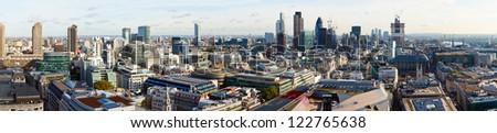 Panoramic view of City of London - stock photo