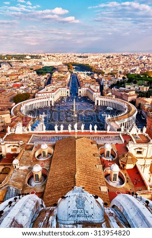 Panoramic view of city of Rome and St. Peter's Square from top of the dome of the basilica of St. Peter