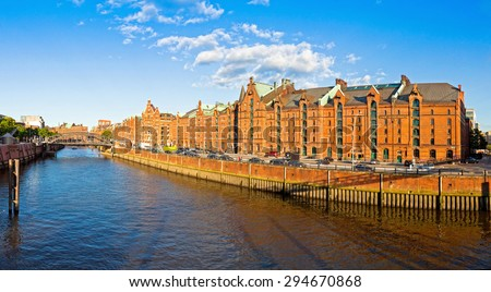 "Panoramic view of ""'City of Warehouses"" district (Speicherstadt) in Hamburg, Germany. In July 2015 this largest warehouse district in the world received the UNESCO world heritage status  - stock photo"