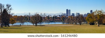 Panoramic view of City Park in Fall - Denver, Colorado - stock photo