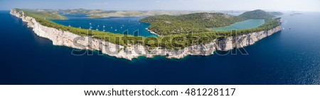 Panoramic view of cliffs in National park Kornati with lake Mir on Telascica Nature park, Adriatic sea in Croatia