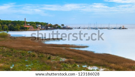 Panoramic view of coast of Colonia del Sacramento, Uruguay - stock photo