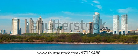 Panoramic view of coast of the city of Buenos Aires - stock photo