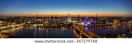 panoramic view of cologne city at sunset, germany