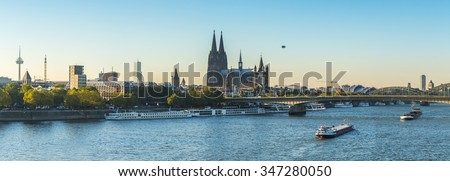 panoramic view of cologne city with Cathedral at the rhine river at summer, germany - stock photo