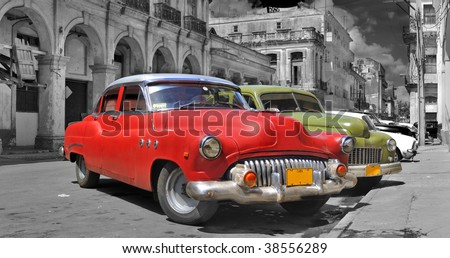 Panoramic view of colorful vintage classic cars parked in street of old Havana, cuba - stock photo