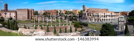 Panoramic view of Colosseo arc of Constantine and Venus temple from Roman forum at Rome - stock photo