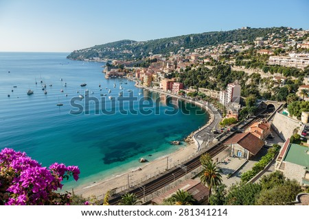 Panoramic view of Cote d'Azur near the town of Villefranche-sur-Mer - stock photo