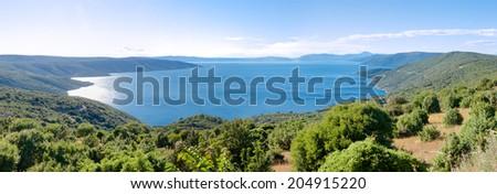 Panoramic view of Cres bay in Croatia - stock photo