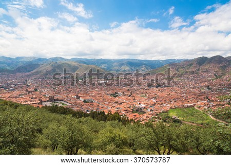 Panoramic view of Cusco town from top of mountain, Peru