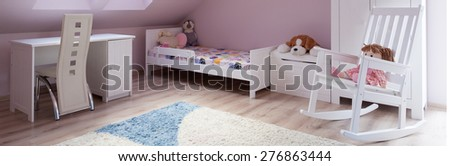 Panoramic view of cute pink girl's room - stock photo