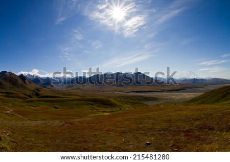 panoramic view of Denali  (Alaska / USA) - stock photo