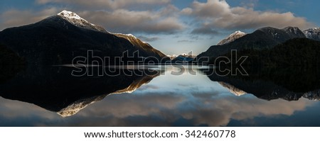 Panoramic view of Doubtful Sound, New Zealand. - stock photo