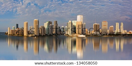 Panoramic view of downtown Miami - stock photo