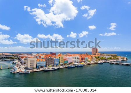 Panoramic view of downtown Willemstad, Curacao - stock photo